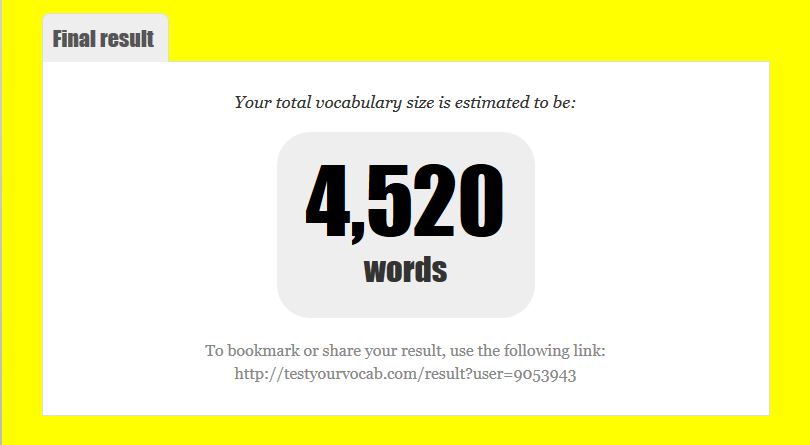 Test Your Vocabulary   Result